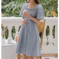 woman dress clothing elegant square collar short sleeve ruffles knee length dress one piece elastic waist floral summer sundress