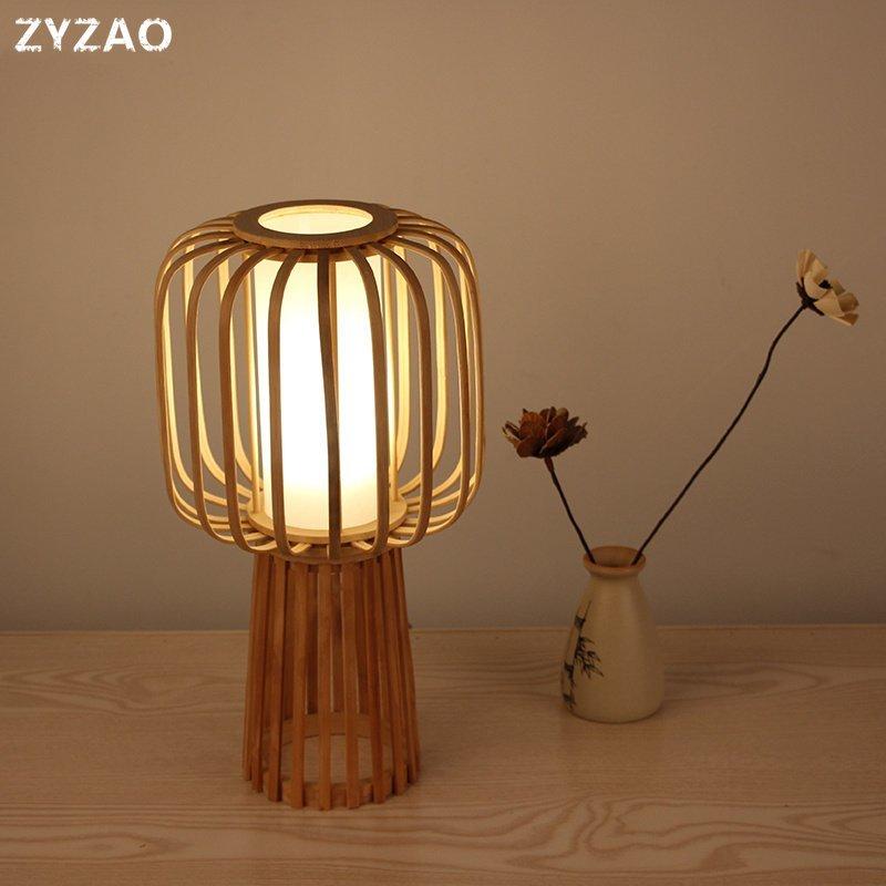Japonés País de bambú de madera moderna lámparas de mesa lámpara de noche para dormitorio sala de estudio de luz LED para decoración de la lámpara de mesa