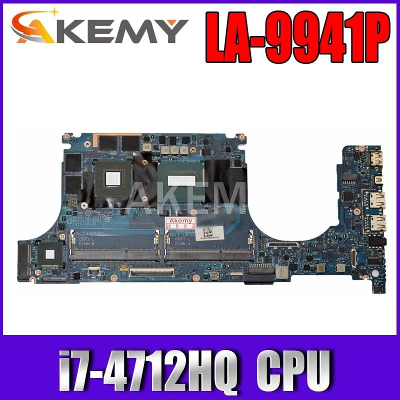 لأجهزة الكمبيوتر المحمول ديل الدقة M3800 اللوحة الأم VAUB0 LA-9941P مع SR1PZ i7-4712HQ وحدة المعالجة المركزية K1100M 2GB GPU اللوحة الأم اختبار 100% العمل