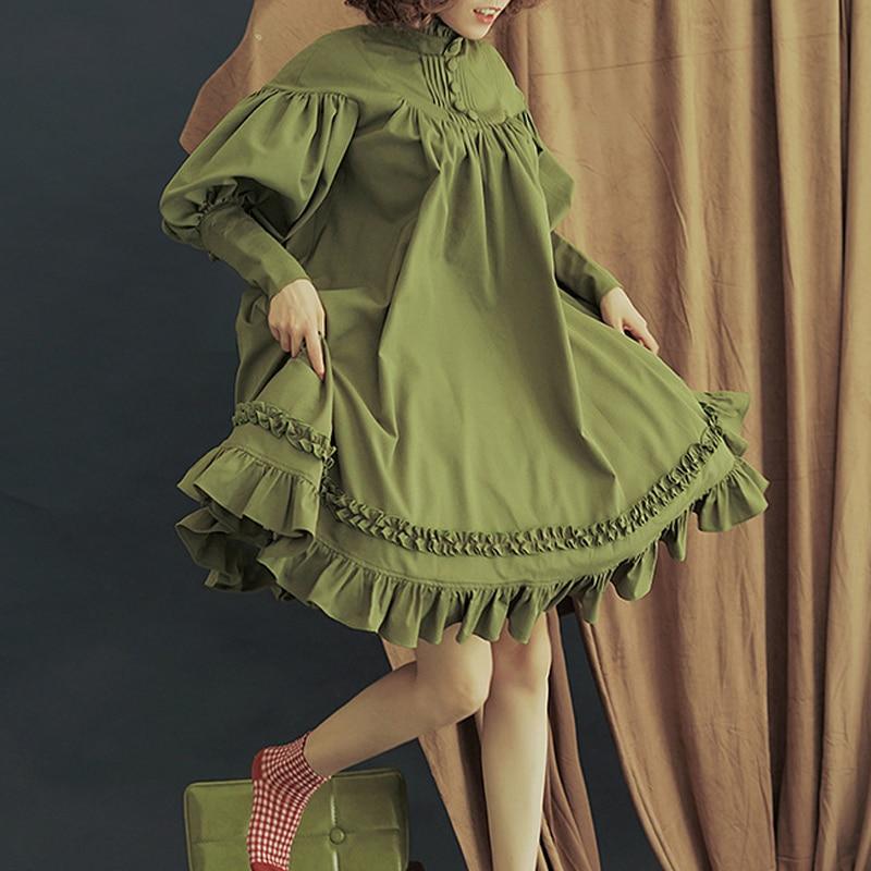 Vintage Lolita Style Dress Women Ladies Long Sleeve Loose Turtle Neck Lace Lantern Sleeve Cute Small Dress Vestidos Princess