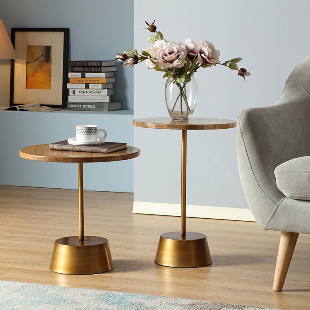 Журнальный столик Мэгги из массива дуба, простой круглый столик для отдыха, небольшая мебель столик laredoute журнальный круглый из массива дуба crueso единый размер каштановый