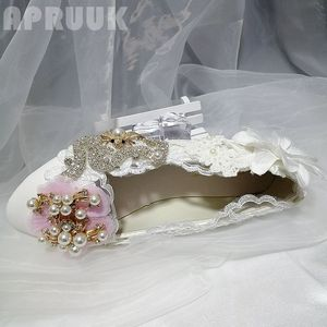 Pink white crystal flower flats shoes woman luxury silver crystal handmade white flowers bridal wedding  flats shoes womens
