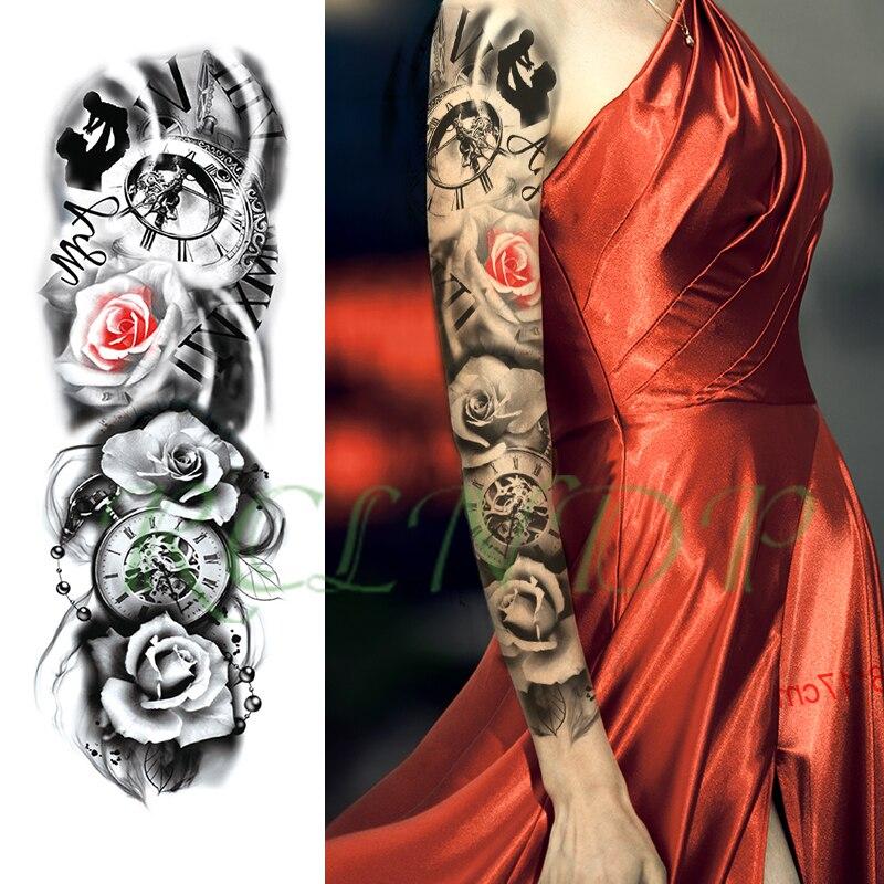 Tatuaje temporal a prueba de agua pegatina de bolsillo con flores reloj carta chico brazo completo tatuaje falso grande tatuaje flash adhesivo para hombres y mujeres