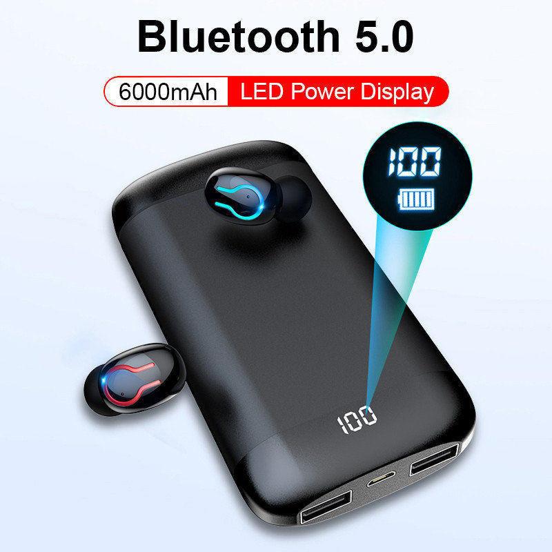 Ottwn Q66 inalámbrico V5.0 auricular Bluetooth HD estéreo auriculares deportes impermeable con micrófono Dual y 6000mAh de carga de la batería caso