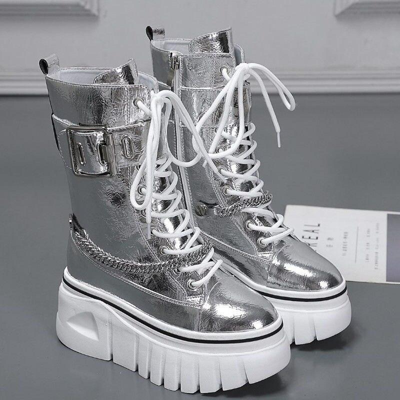Rimocy القوطية الشرير المرأة منصة الأحذية الفضة براءات الاختراع والجلود مكتنزة أحذية امرأة الخريف الشتاء سميكة وحيد منتصف العجل بوتاس موهير