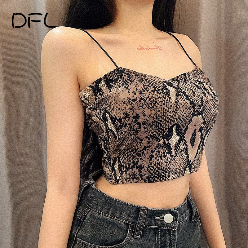 DFLlifes Sexy Women T-shirt Snake Grain Sleeveless Camisole V-Neck Show Navel Short T-Shirt Fashion Top Summer New Female Tee