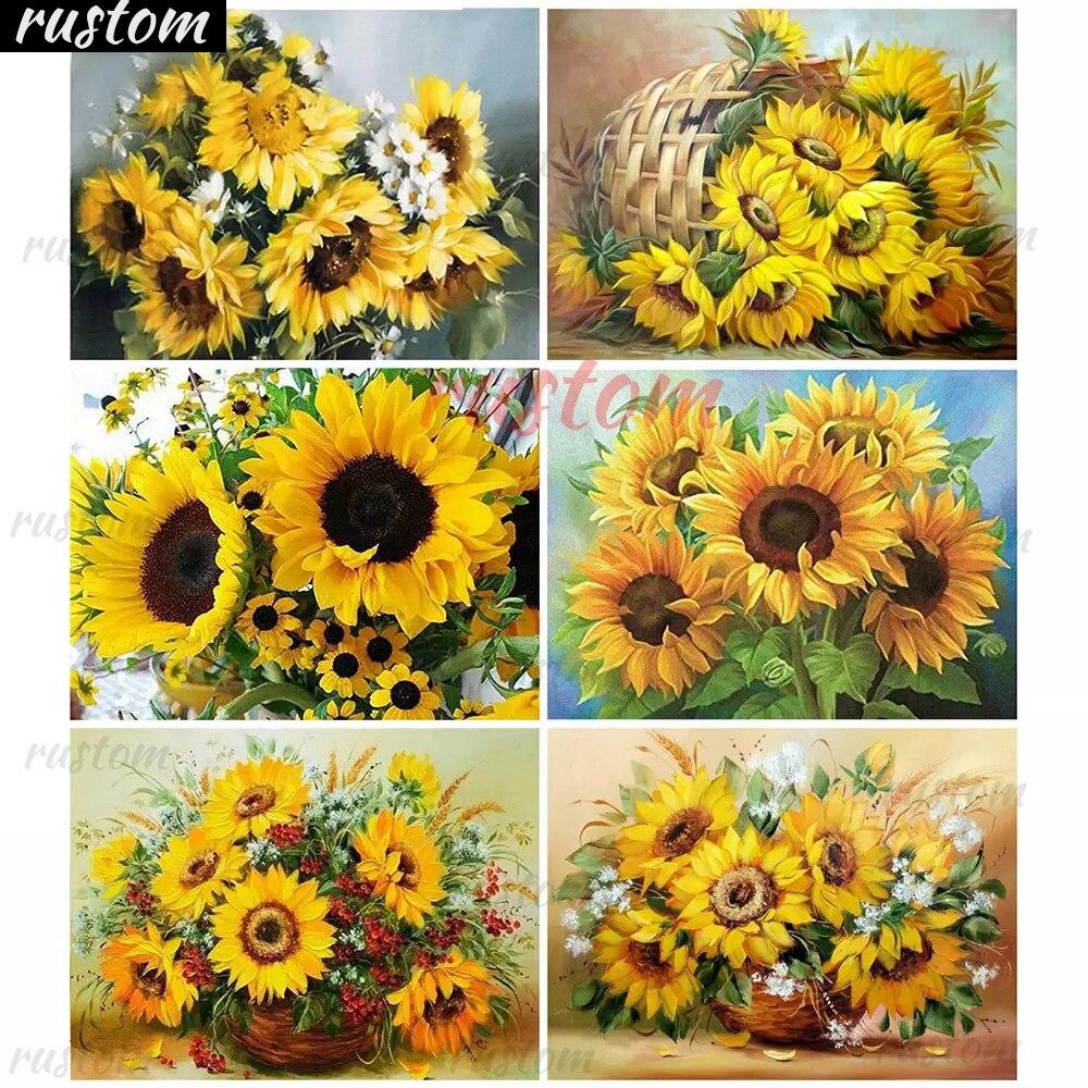 5D DIY Diamond  Full Round/Square Cross Stitch Kit Embroidery Sunflower Flower Needlework Decoration Rustom