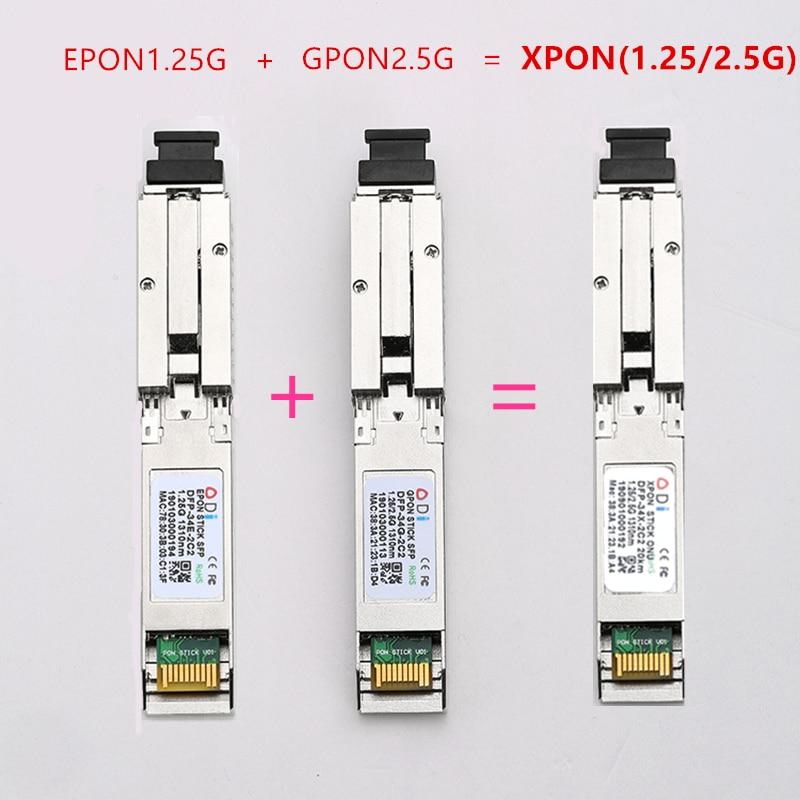 E/GXPON SFP ONU Stick مع موصل MAC SC ، وحدة DDM pon 1490/1330nm 1.25/2.5G XPON/EPON/GPON( 1.244Gbps/2.55G)802.3ah E/GXPON