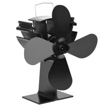 4 Blade Heating Furnace Fan Fireplace Fan Heat Powered Wood Burner Eco Fan Quiet Home Efficient Heat Distribution Stove Fan