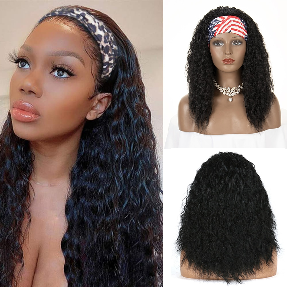 Synthetic Headband Wig Afro Kinky Straight Short Wig 20 Inch With Scarf Heat Resistant Head Band Wig For Women African American