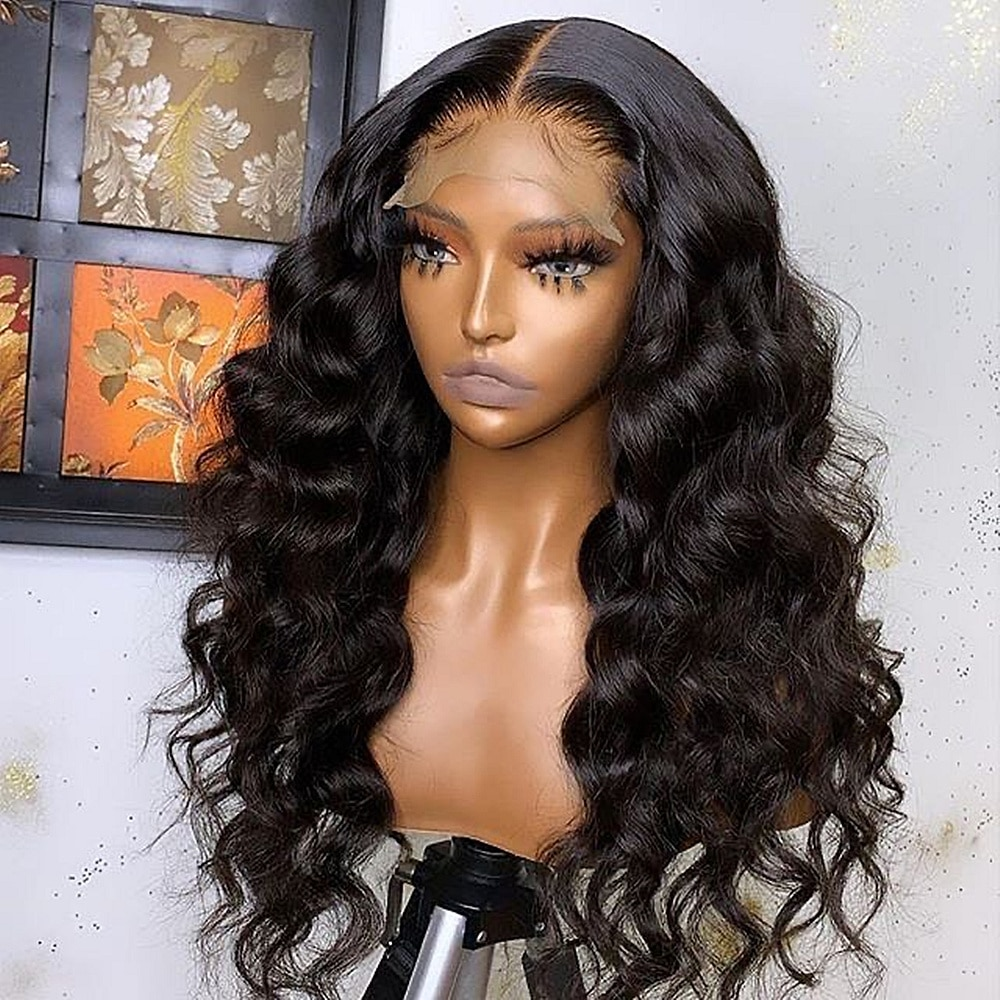 Indian Loose Deep Wave 4*4 Lace Closure Human Hair Wigs For Black Women 180 Density Wig Pre Plucked Natural Hair line Wig