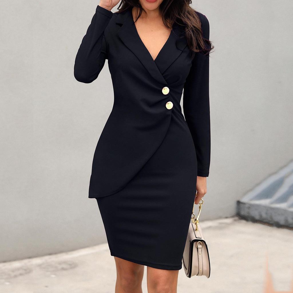 Feminino elegante ternos vestido profissional bodycon blazer ol botões v pescoço bodycon vestidos elegante formal trabalho vestido roupas # t2g