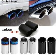 2PCS Carbon Fiber Auto Auspuff Tip Muffler Rohr Abdeckung Für Volkswagen VW Tiguan Touran Passat Polo Jetta Golf 6 7 MK6 MK7 1,4 T 1,6