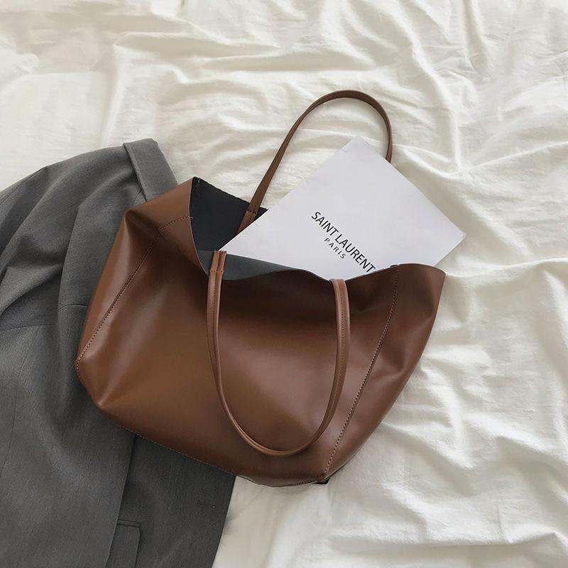 2020 Large Leather Bag Women Tote Designer Bucket Bag Vintage Big Brown Soft PU Shoulder Bags Lady Brand Luxury Handbags Classic