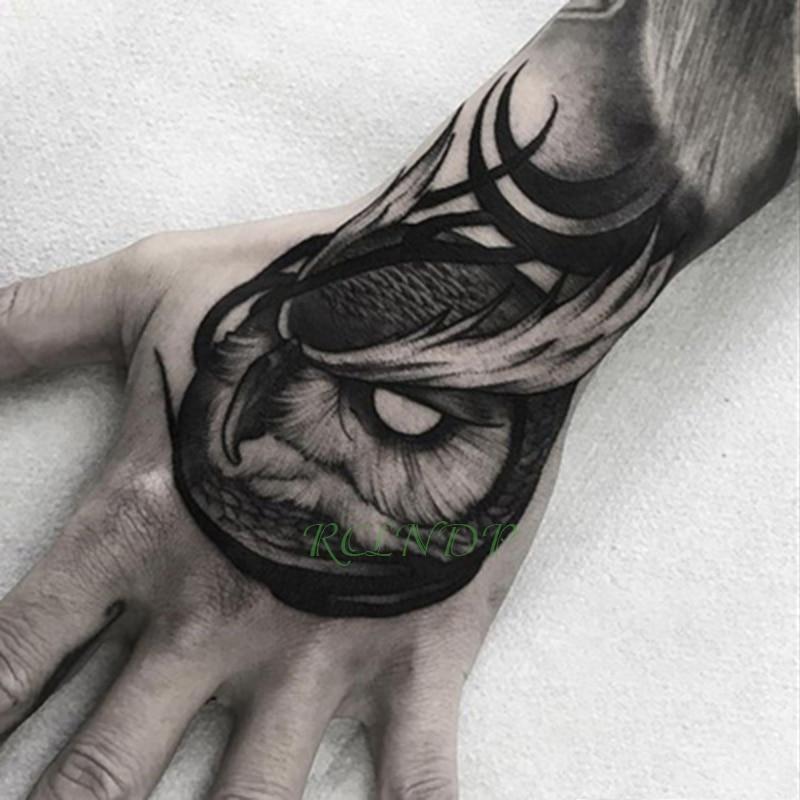 Wasserdicht Temporäre Tätowierung Aufkleber eule vogel tier Gefälschte Tatto Flash Tatoo Hand Arm nahen größe kunst Tattoos für junge Frauen männer