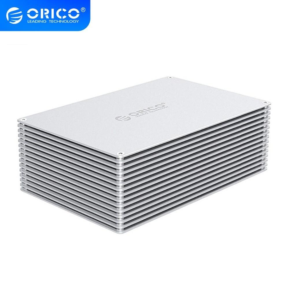 ORICO, 3,5 pulgadas, adaptador de carcasa para HDD DIY, USB 3,0 3,1 tipo C a SATA, caja de disco duro de Bahía Dual de aluminio, cubierta externa