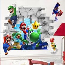 Autocollants muraux 3D dessin animé   Super Mario Bros Art, Stickers décoratifs pour la chambre des enfants, amovible