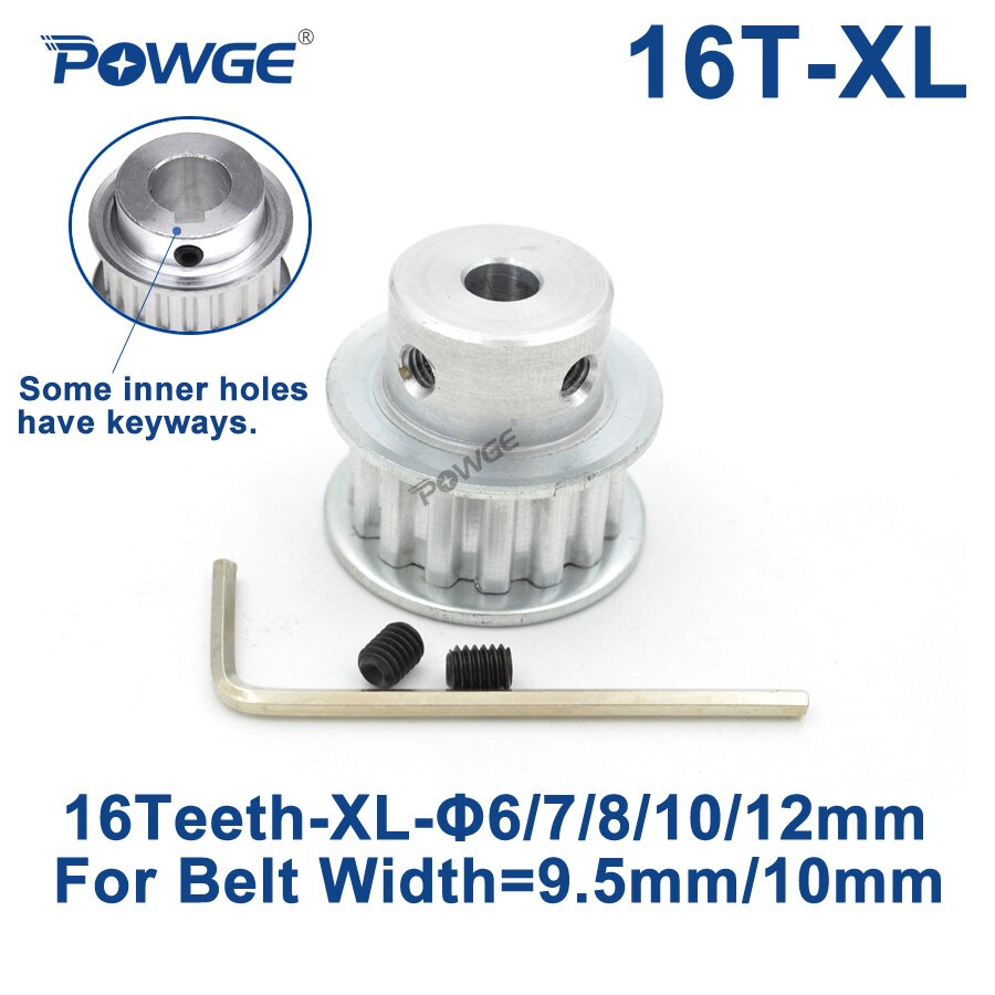 POWGE trapezoidal 16 dientes polea dentada XL diámetro 5/6/6 35/7/8/10/12/14/15/16/17mm de ancho 10mm XL correa síncrona 16 dientes 16 T