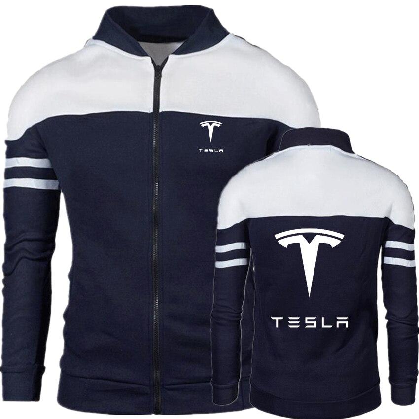 Мужская модная куртка на молнии с логотипом Tesla, Новая ветровка, куртка-бомбер с принтом, осенняя мужская уличная одежда, повседневная Уличн...