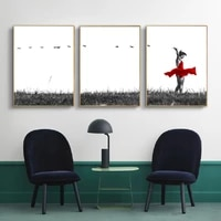 minimalist black white dancing on grass wall art canvas paintings red art wall art prints and posters living room home decor