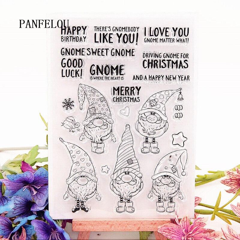 PANFELOU 10,5x15 cm Navidad elfo transparente silicona goma transparente sellos de dibujos animados para Scrapbooking/Álbum de boda de Navidad DIY