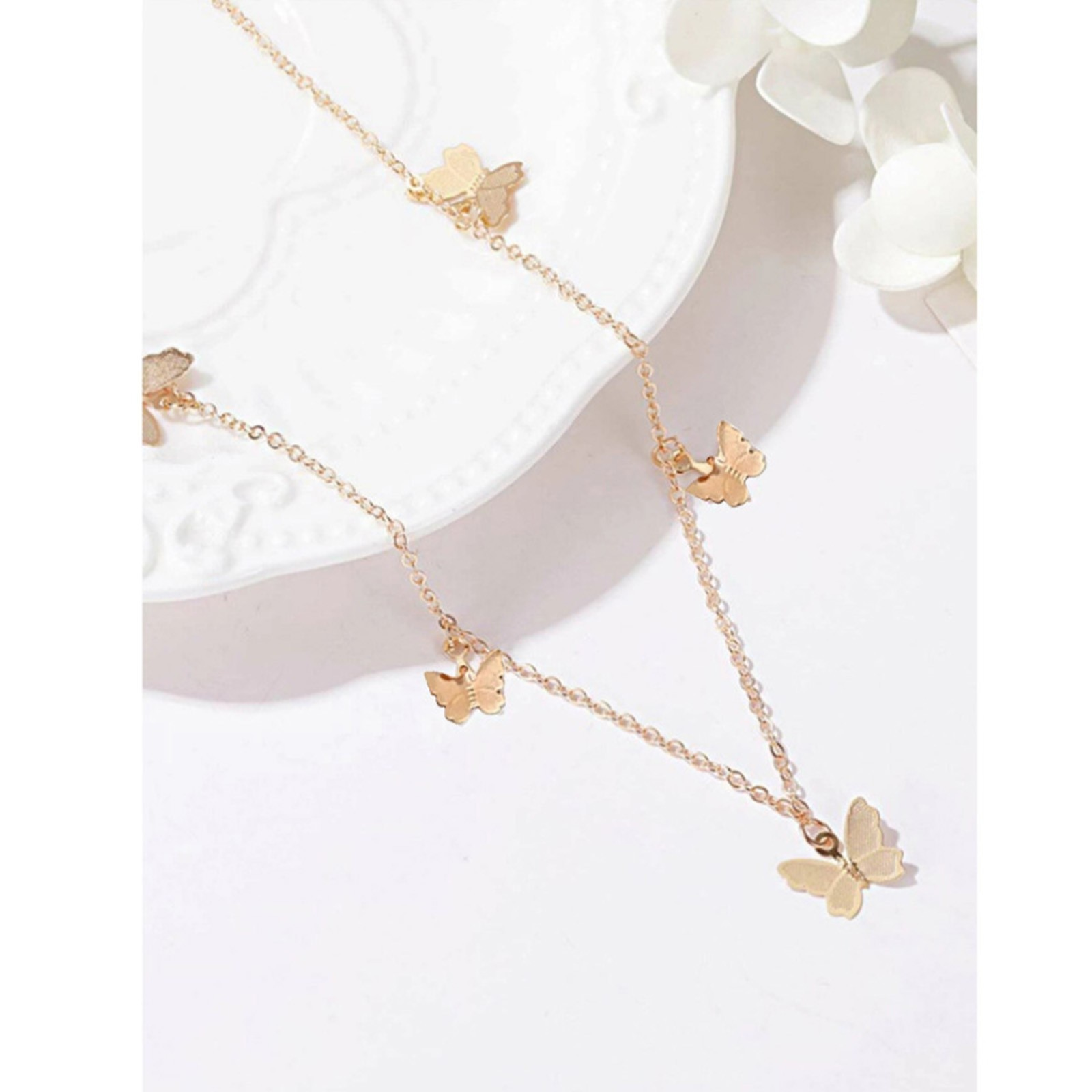 Luxury Temperament Butterfly Pendant Crystal Necklace Female Ins Cold Wind Forest Jewelry lady lovel