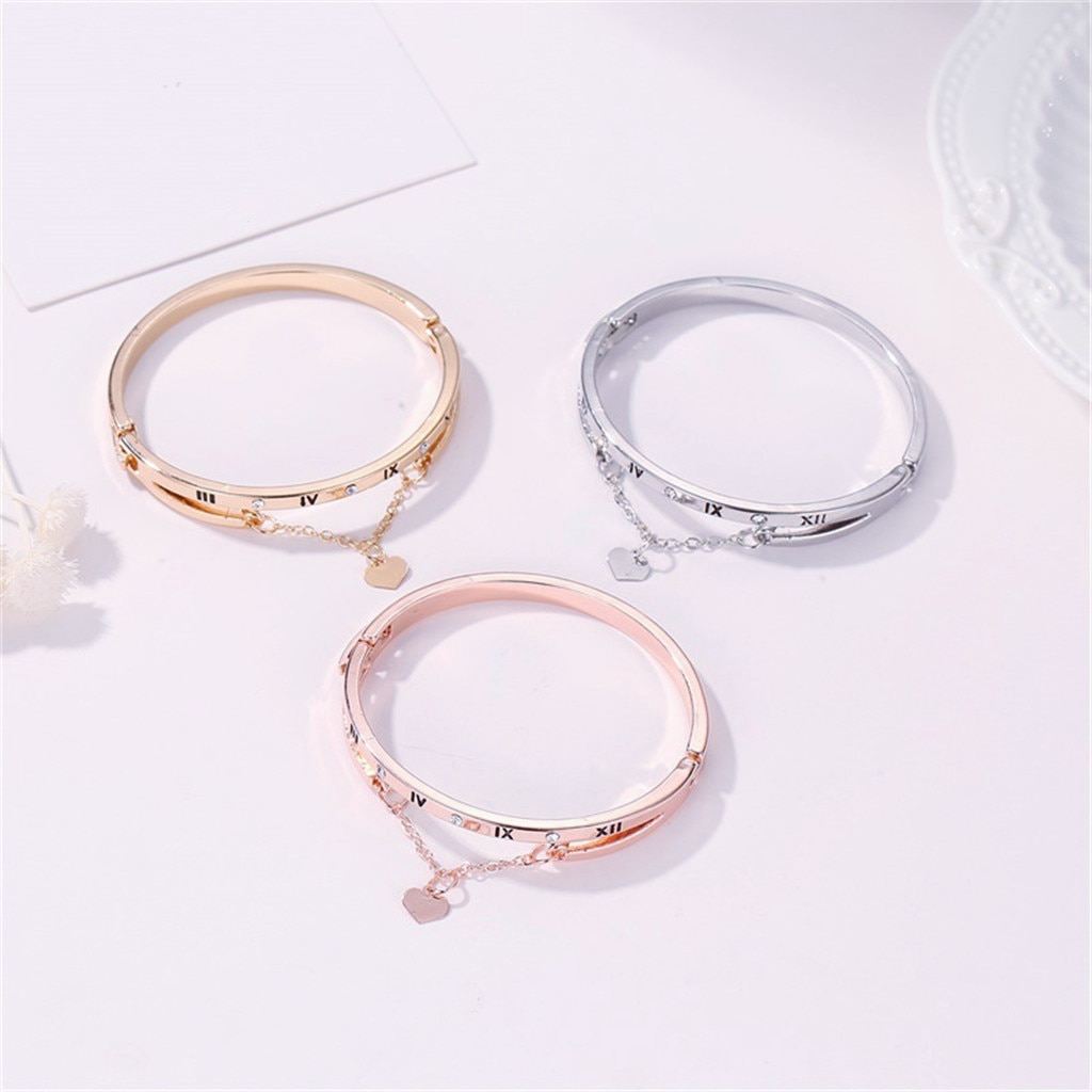 Oro rosa amor Número Romano pulseras brazaletes mujer corazón boda amor marca encanto pulsera para mujeres joyería famosa