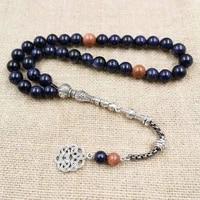 natural blue sandstone tasbih with gold sandstone muslim mans gfit for eid 33 66 99 paryer beads special new misbaha bracelet