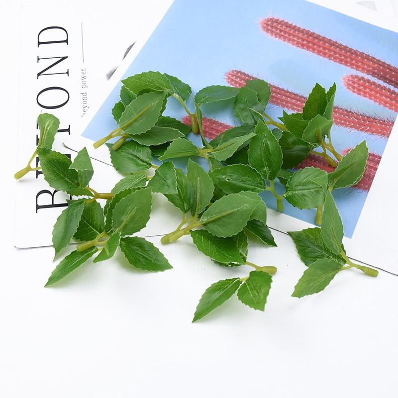 10/30 stück 3 gabel rose blätter vasen für home decor zubehör gefälschte blumen scrapbooking diy hochzeit geschenke künstliche pflanzen