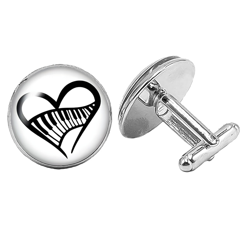 2019 New Mens Cufflinks Music Lovers Notes Glass Convex Silver for Gift Buttons