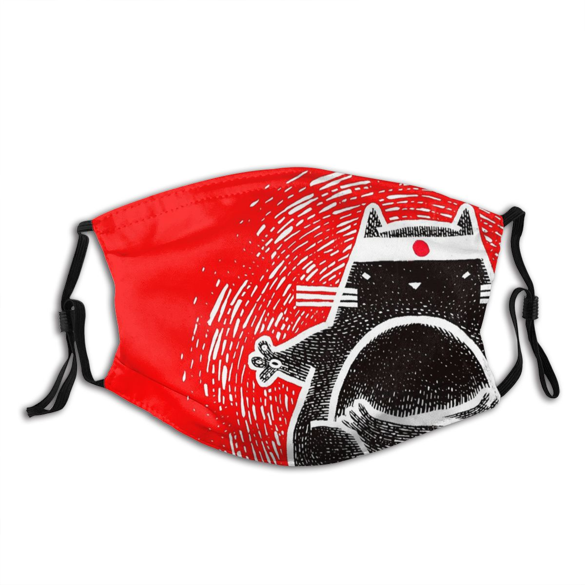 Funny And Cute Fatty Japanese Cat Praticing Yoga Non Disposable Trendy Mouth Face Mask Anti Haze Dustproof with Filters Winter