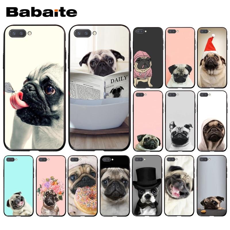 Babaite Animal lindo perro Pug lectura comiendo funda de teléfono para Huawei Honor 8X 9 10 20 Lite 7A 5A 8A 7C 10i 8C 7A 9X Pro