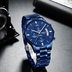 2021 NIBOSI Mens Watches Gold Black Chronograph Luxury Dress Watch Men Luminous Hand Multi Function Dial Clock Relogio Masculino