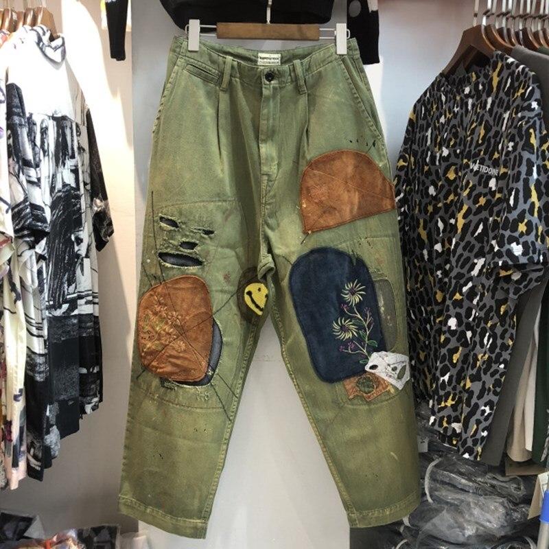 20fw KAPITAL pantalones hombres mujeres verde caqui pantalones Hip-Hop Vintage parche KAPITAL parche agujero ropa estilo informal