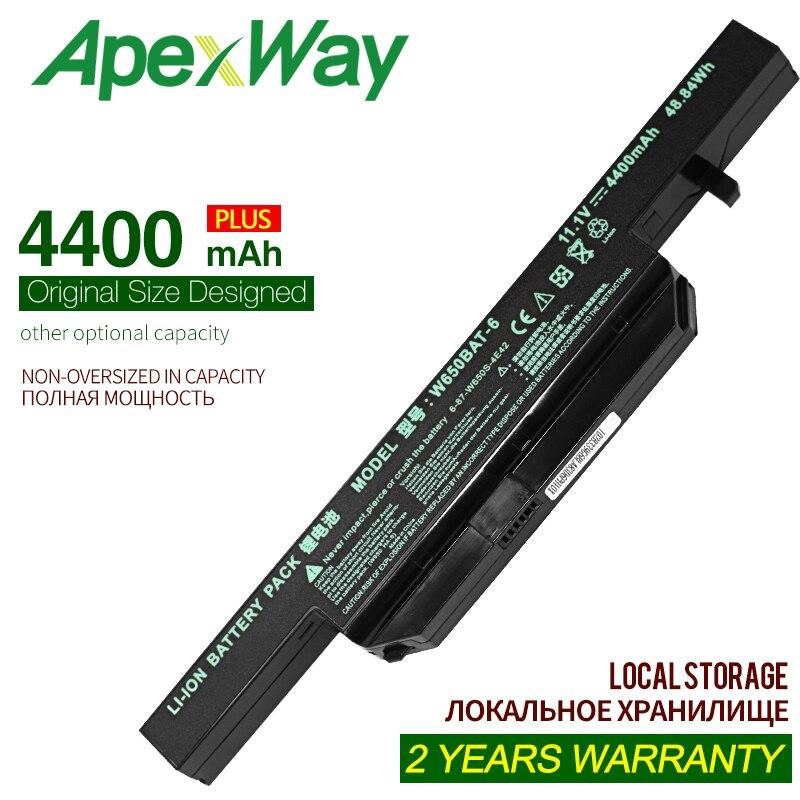 ApexWay 4400mAh بطارية كمبيوتر محمول ل Clevo W650BAT-6 6-87-W650-4E42 K590C-I3 K610C-I5 K570N-I3 K710C-I7 G150S K650D K750D K4 K5 P4