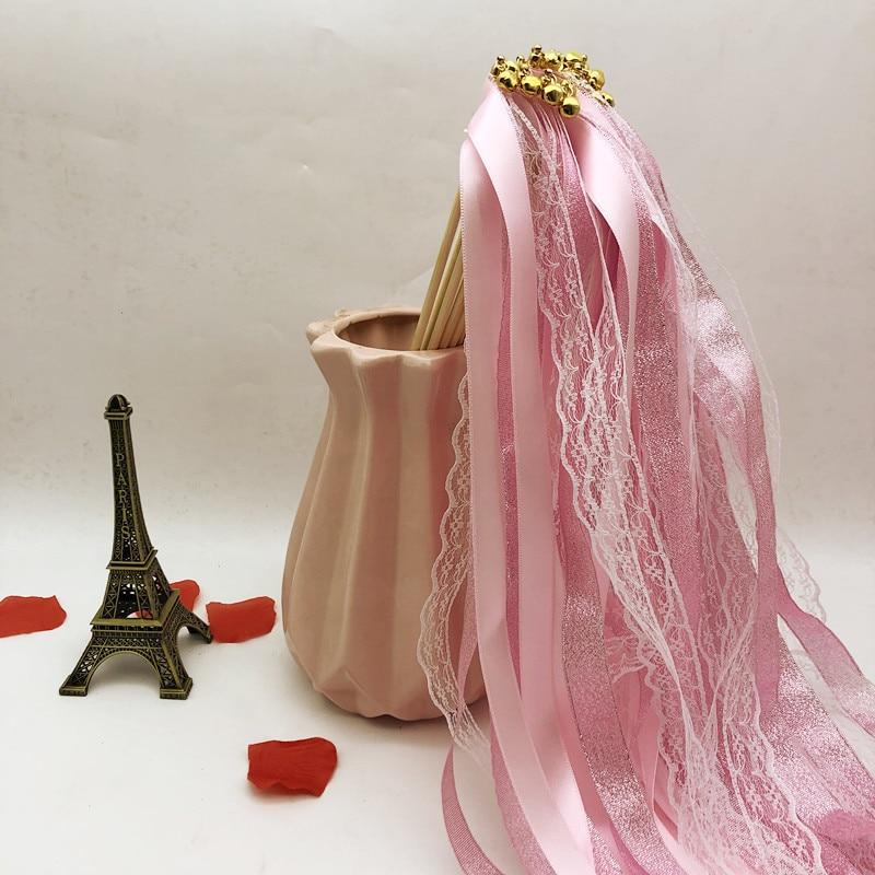 Varitas con cinta para boda rosa y púrpura con cascabel dorado, cinta que gira serpentinas, cinta para boda, Stick 10/30 uds, gran oferta