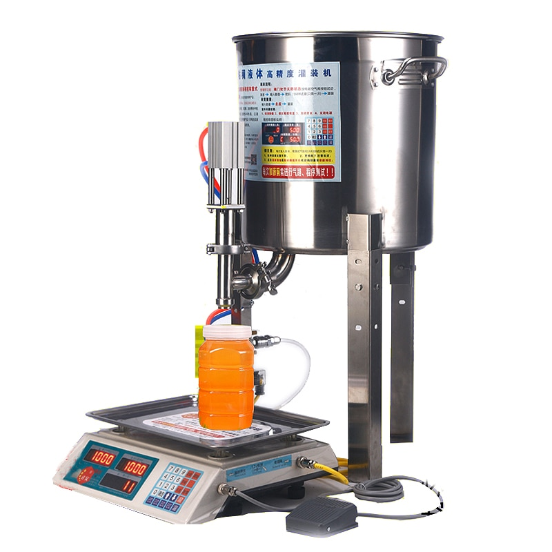 Automatic Weighing 50g~2500g Honey Cooking Oil Beverage Small Bottle Weighing Filling Machine with Precision Weight Sensor