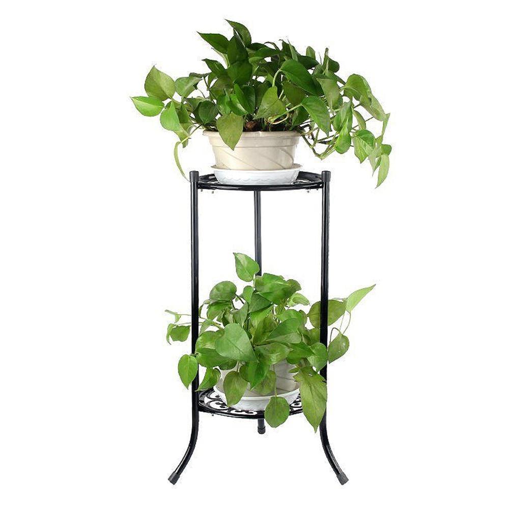 2 Holder Flower Stand Metal Plant Pot Stand Flower Display Shelf Garden Patio Home Outdoor Black Flo