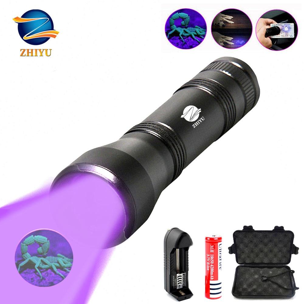 ZHIYU uv flashlight Ultra Violet Light With Zoom Function UV Black Light Pet Urine Stains Detector Scorpion Use 18650 battery