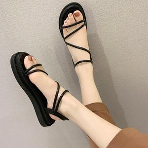 Sandals Women 2021 New Flats Shoes Roman Sandal Flat Platform Cross-tied Ankle Strap Modern Sandals Solid Sandalias Femininas