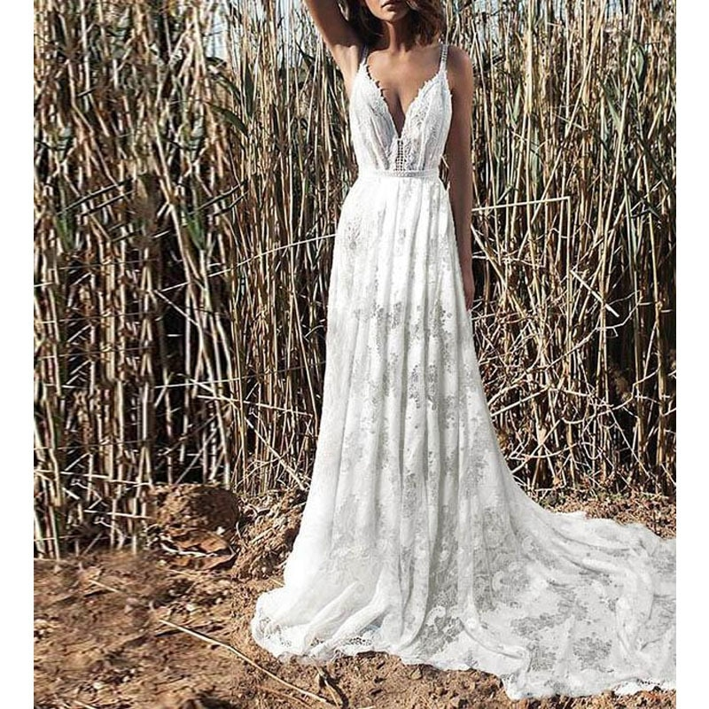 Promo 2021 luxury high quality Fashion Lace Sexy sleeveless suspender banquet evening dress temperament slim mopping wedding dress