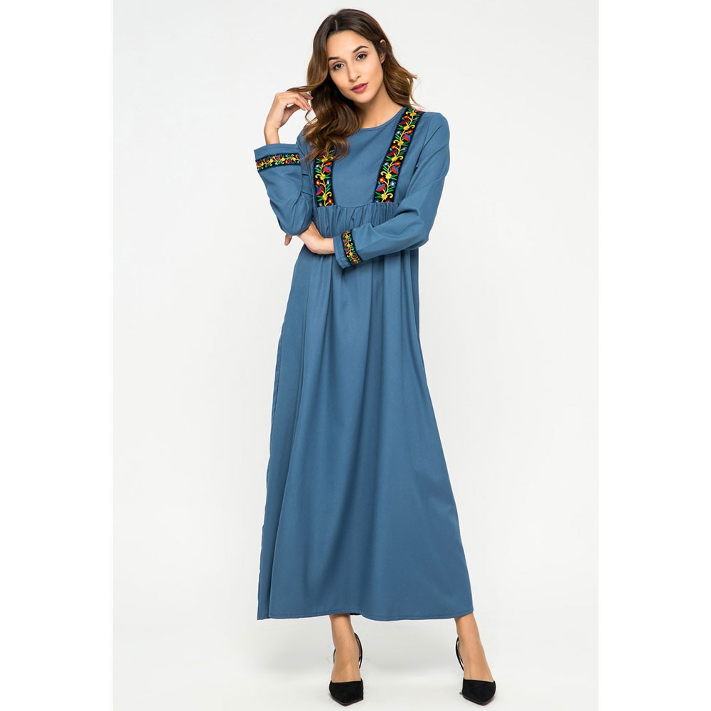 Bordado floral abaya otoño maxi vestido con mangas largas kaftan Ramadán vestido marroquí dubai islámico musulmán túnica VKDR2168