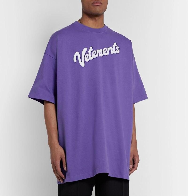 20ss Vetements t-shirt oversize  Purple Monogram logo Vetements top tee couples streetwear kanye west hip hop  Vetements t-shirt