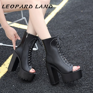 LEOPARD LAND High Chunky  Fish Toe Boots Waterproof Platform Chunky Heel Lace-up High Heel Ankle Boots Women's Boots JXQ-9958-S
