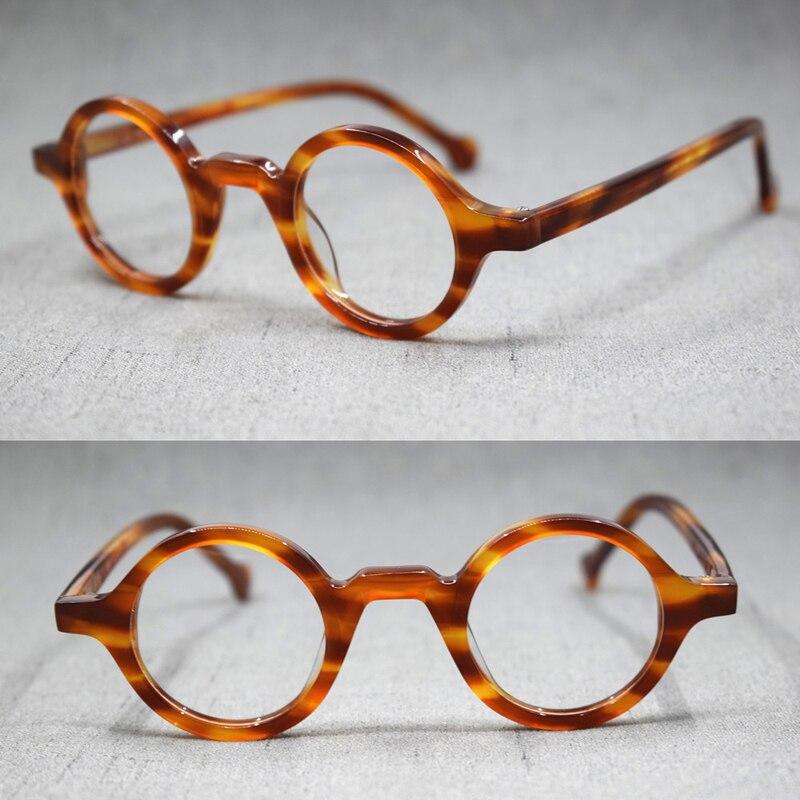 نظارات كلاسيكية مستديرة للرجال والنساء ، نظارات بصرية صغيرة ، إطارات شفافة من الأسيتات لقصر النظر