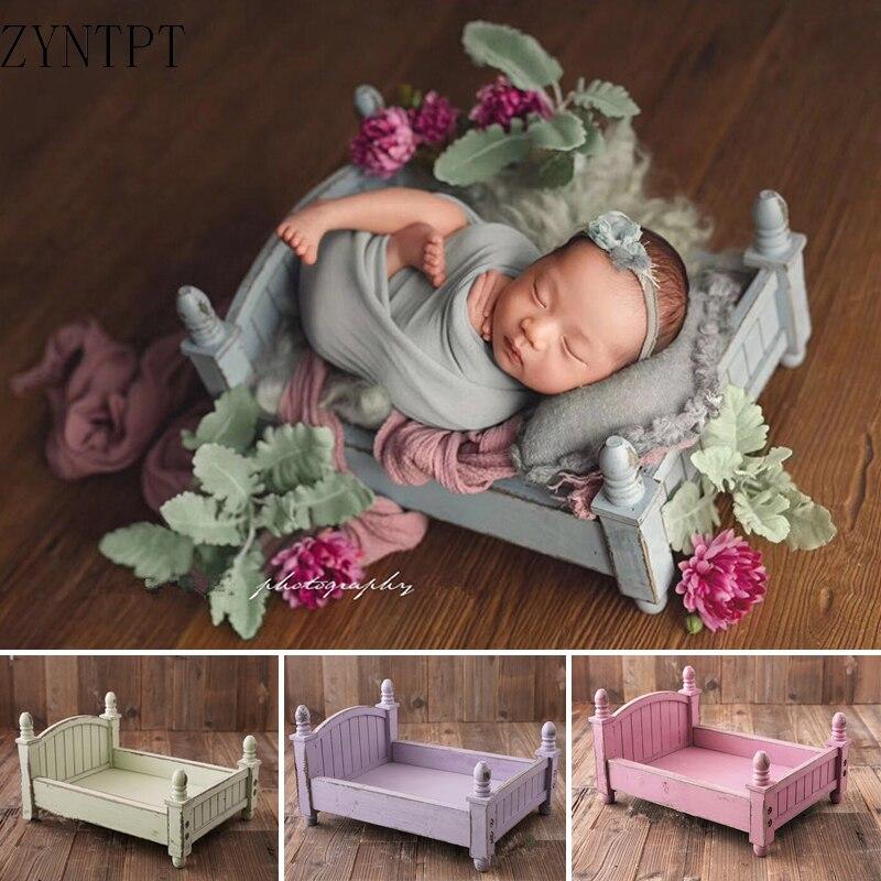 سرير خشبي عتيق لتصوير الأطفال حديثي الولادة ، ملحقات استوديو الصور Flokati