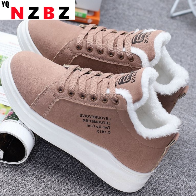 Winter Warm Women Vulcanized Shoes Fur Plush Casual Shoes Lace Up Fashion Platform Sneakers Women Snow Boots Zapatillas Mujer 2018 winter warm women white sneaker fashion footwear lace up lady shoes with soft fur lining candy color back