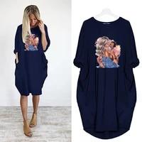 midi dresses women long sleeve robe femme loose dress beach pocket cartoon lovers print casual party vestidos female autumn new