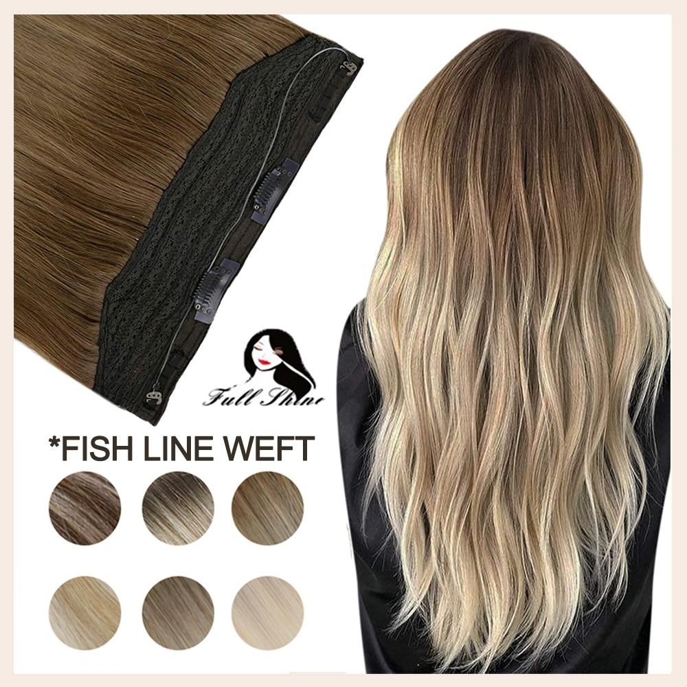 كامل تألق خيط صنارة صيد لحمة شعر هالو تاج شعر قطعة واحدة مع مقاطع أومبير اللون 100% ريمي شعر طبيعي غير مرئية سلك السمك