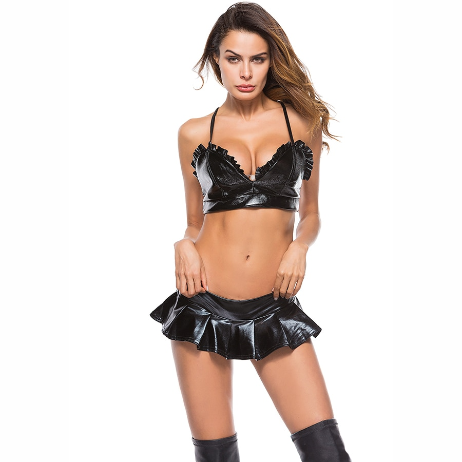 Sexy Women Latex Babydoll Erotic Faux Leather Bra Set Bikini Sexy Lingerie Set Pyjamas Stripper Costume Femme